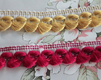 "2.5 cm - 1 ""looped fringe trimmings braid, two-tone braid, pompom fringe braid, 2993"