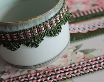 1 m/1,09y Green and pink trimmings, braid for lampshade, curtain ornament, French trimmings, green trim, 2407