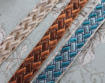 """Upholstery trimmings, geometric braid width 4 cm - 1.57 """"by 1 meter 1.09y, 100% Dralon acrylic, made in France, 2858"""