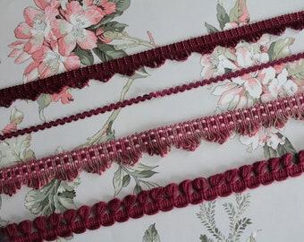 Burgundy trimmings, lampshade trim, French trimmings, burgundy trim, bordeaux braid lace, 2437