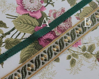 Green upholstery trim, green border for lampshade, curtain ornament, French trimmings, green trim, 3014