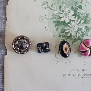 collection of old buttons gift for her Ceramic buttons 2771 mom gift Pink and gold button