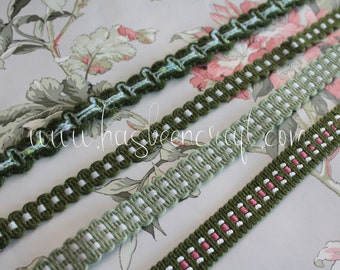 Green upholstery trim, green border for lampshade, curtain ornament, French trimmings, green trim, 2503