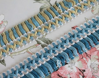 1m, 1y Galon upholstery with blue and yellow fringes, lampshade trim, curtain ornament, French trimmings, 2456