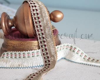 Braid of trimmings, white vintage braid, braid for lampshade, curtain stripe/black pompons braid, French trimmings, 2395