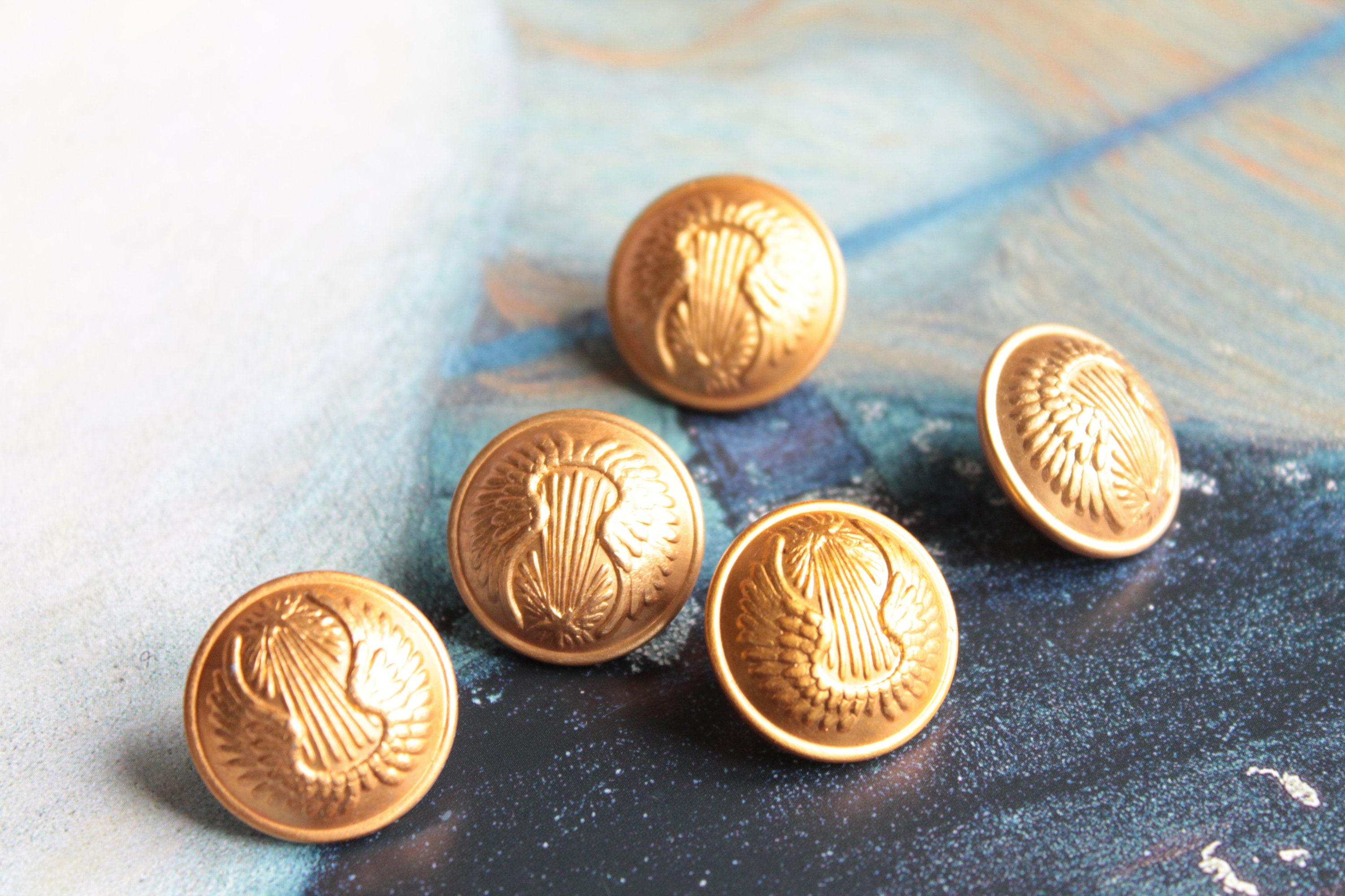5 French military antique buttons, G D Paris, golden tail