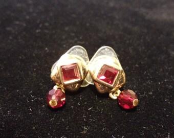 Ruby Red Vintage Swarovski Element Crystal Gold Plated