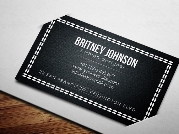 Fashion Designer Business Card Template Moda Needles Vogue Etsy