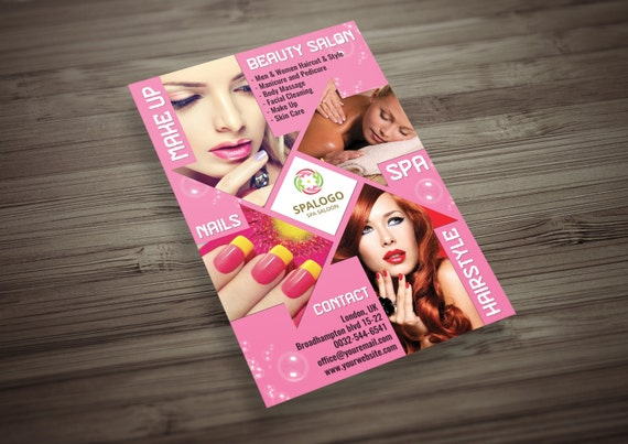 Hair And Beauty Salon Flyer Psd Template Makeup Spa Nail Etsy