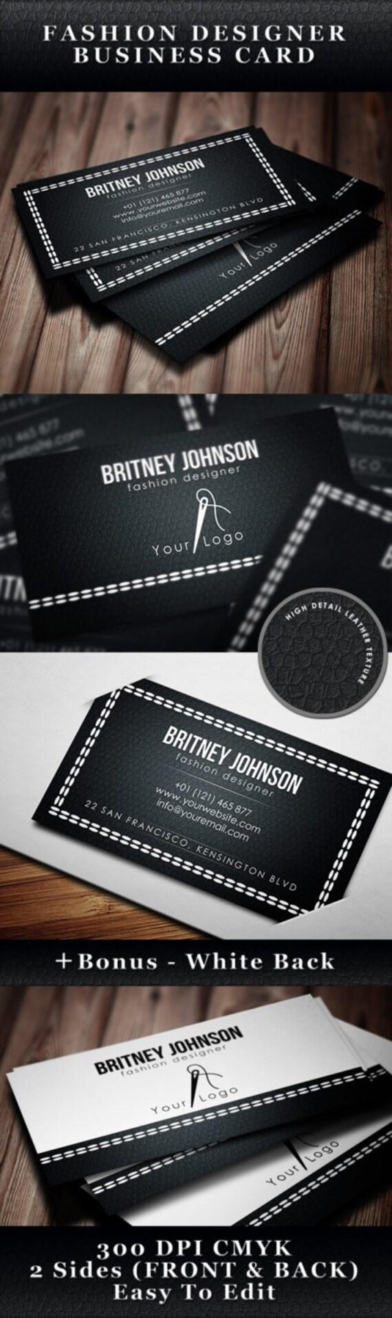 Fashion Designer Business Card Template Moda Etsy