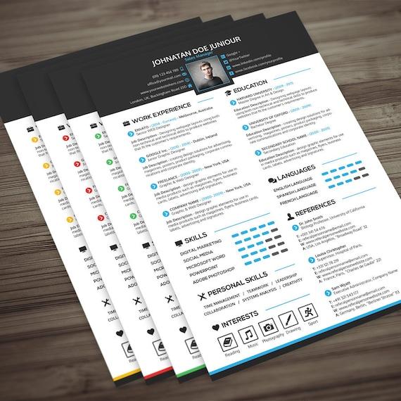 Resume Cover Letter Portfolio Template 3 In 1 Modern Etsy