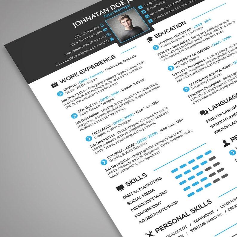 Resume + Cover Letter + Portfolio Template - 3 in 1 | Modern CV Template,  Resume Template, Cover Letter Template | Instant Download