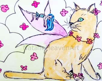 Cat Picture Fairies Art Pink and Blue Decor Enchanted Forest Wall Art Fairy Gifts Elven Accessories Spring Flowers Elf Prints Fantasy Lover