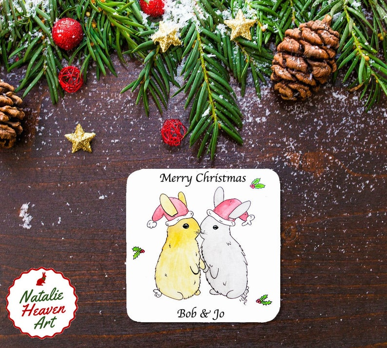 Christmas Drinks Coasters Personalised Couples Gifts Festive Wooden Table Mats Rabbit Lover Gift Bunnies in Xmas Hats Made in England Decor