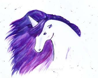White Unicorn Print, Purple Unicorn Picture, Galaxy Unicorn Gift, Pretty Unicorn Painting, Ethereal Fantasy Unicorn Artwork, White Horse Art