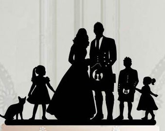 Scottish wedding cake topper with child, Bride and groom with kids  silhouette, Wedding decor, Cake decoration, Scottish Family cake topper