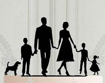 Wedding family cake topper with 3 children - 2 boys and a girl, and a dog , Family cake topper with pet