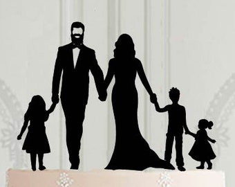 Wedding family cake topper with 3 children - 2 girls and a boy