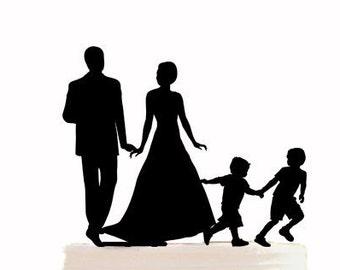 Wedding cake topper, Family Cake topper with children