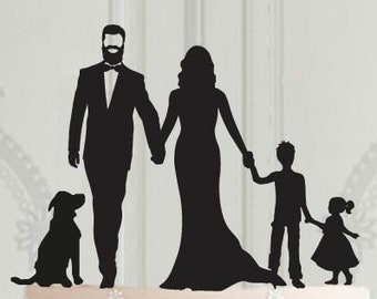 Wedding family cake topper with 2 children - a girl, a boy and a dog, Wedding Decor