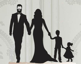Wedding family cake topper with 2 children - a girl and a boy