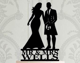 0fd11bf1967 Scottish Wedding Cake Topper - Groom in kilt silhouette