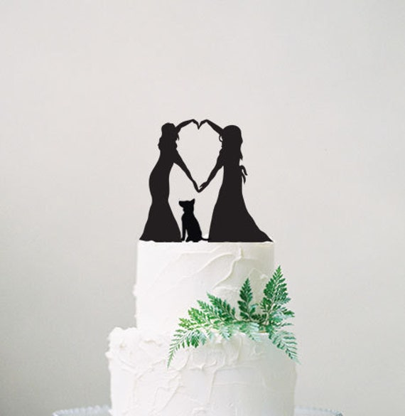 Wedding Cake Topper Same Sex Wedding Cake Topper With Pet Etsy