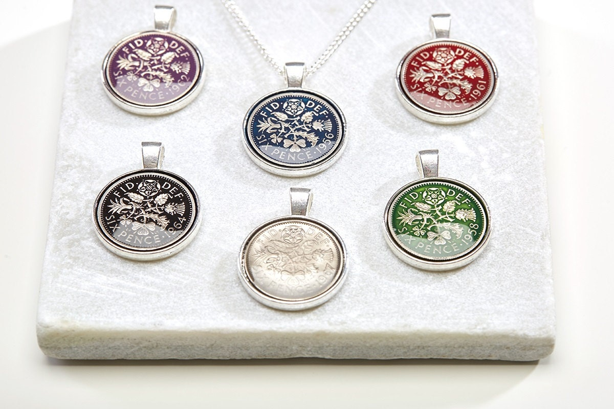 Sixpence Necklace Pendant Coin Necklace Customised Necklace