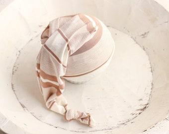 Neutral Newborn Baby Hat Stretchy Baby Hat RTS Newborn Prop White Newborn Hat Photo Prop Newborn Knot Cap White Newborn Sleepy Cap