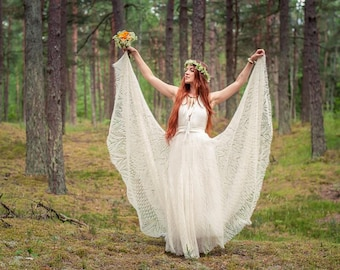 Hand knitted lace wedding dress wedding gown