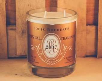 Louis Roederer Cristal Candle - Up-cycled Champagne Bottle | Vanilla scent