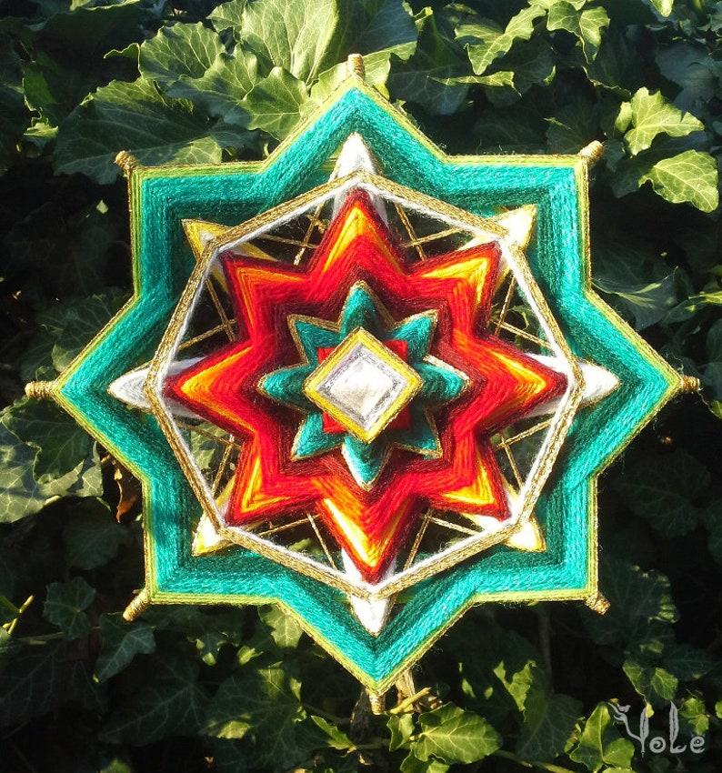 WallArt Yule Decorations Ojo de Dios Yule Star Mandala Christmas Decor Winter Solstice 8.5 Inches Woven Wall Hanging Bohemian Decor