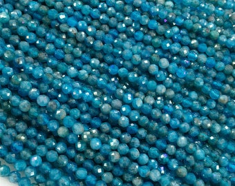 5-5.5mm Long size,Gorgeous 4x8 Inches Strand Rare Apatite Blue Chalcedony Micro Faceted Rondells