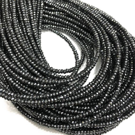 SILVER HEMATITE GEMSTONE SILVER FACETED RONDELLE 8X5MM LOOSE BEADS 16/""