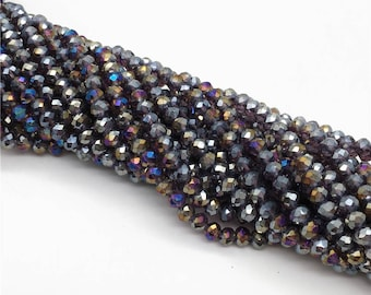 1Full Strand 4*3mm Purple Crystal Rondelle Beads,Crystal Glass Beads For Jewelry Making
