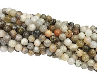 1Full Strand Bamboo Leaf Agate Round Beads, 6mm 8mm 10mm Wholesale Gemstone For Jewelry Making