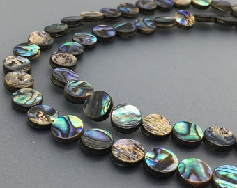 1Full Strand 10mm Abalone Shell Flat Beads, Abalone Beads For Jewelry Making