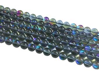 1Full Strand Gray Mystic Aura Quartz Round Beads, 8mm 10mm Aura Quartz,Holographic Quartz For Jewelry Making