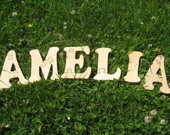 AMELIA name Puzzle Toy Girls name Baby words Baby name Kids puzzles Kids names Developmental puzzle toys Educational puzzle Puzzle Spielzeug