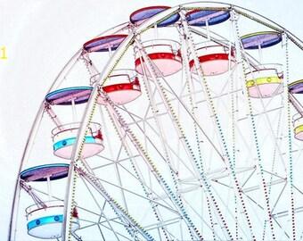 Coloful Ferris Wheel Photograph, Pastel Photograph, Ferris Wheel Decor, sky wheel Picture,  Nursery Wall Art, Childrens Room Decor,