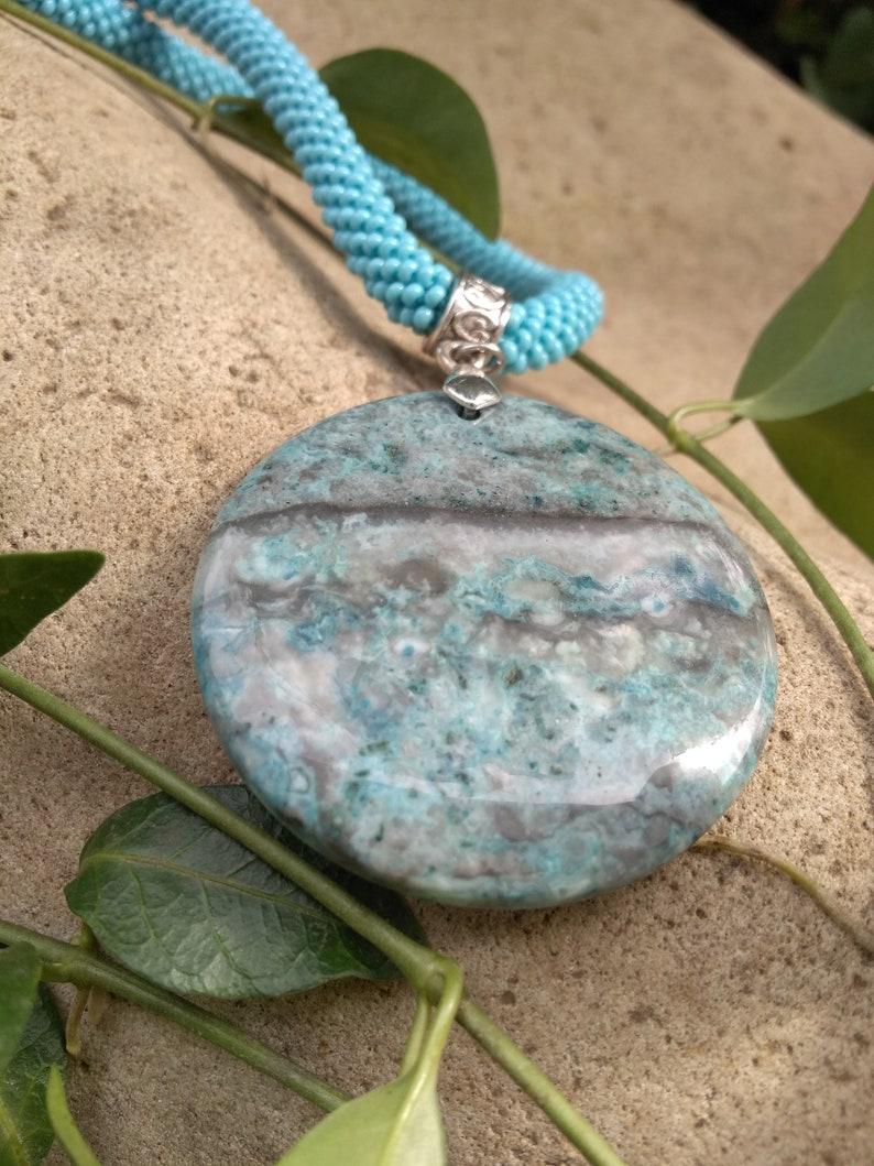Agate pendant necklace  Large circle stone pendant necklace Seed bead necklace Turquoise necklace