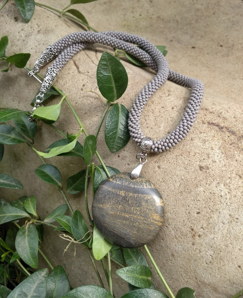 Grey necklace Jasper necklace Seed bead necklace  Bead crochet rope necklace
