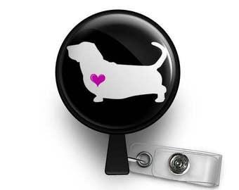 Basset Heart ID Badge Reel