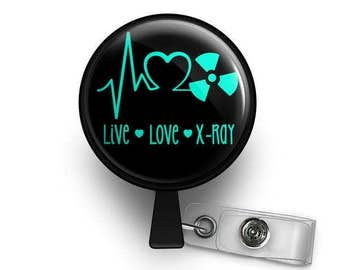 Live-Love-X-ray Radiology Retractable ID Badge Reel