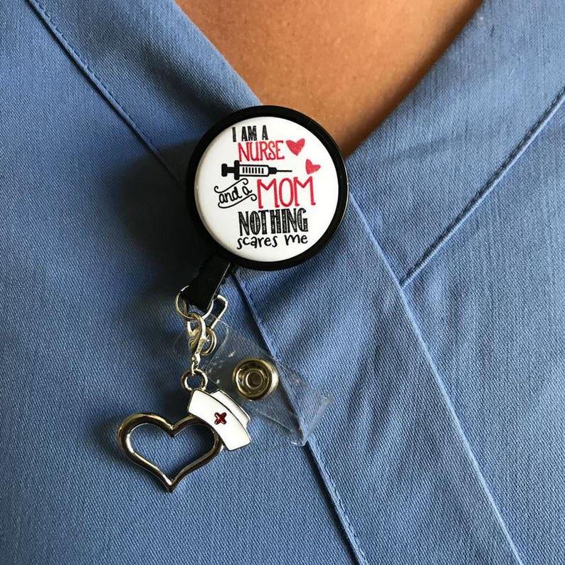 Nothing Scares Me Retractable w Nurse Hat Pendant ID Badge Reel