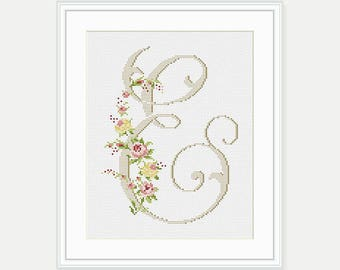 """Letter """"E"""" - Flower Cross Stitch - Letter Cross Stitch Pattern - Personalized Letter -  Counted Cross Stitch Pattern - PDF- INSTANT DOWNLOAD"""