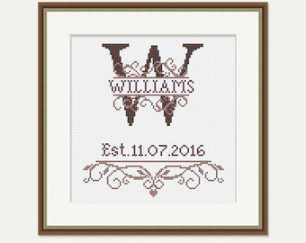 Wedding Cross Stitch Pattern - Birthday Cross Stitch - Monogram Cross Stitch - Wedding Gift - House Warming Embroidery -PDF-INSTANT DOWNLOAD