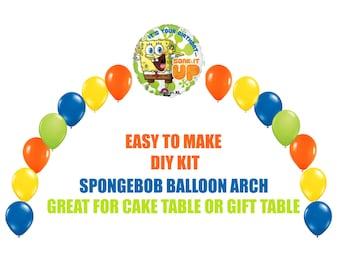 Spongebob Squarepants Birthday Balloons Arch Balloon Party Decor Cake Table Gift DIY KIT Supplies
