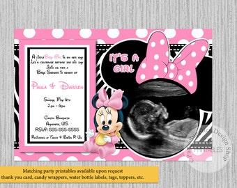 Minnie baby shower etsy baby minnie baby shower invitations ultrasound minnie baby shower invitations baby minnie baby shower zebra print invitations pink filmwisefo