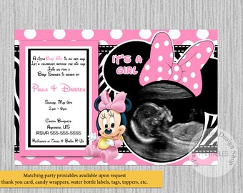 Minnie mouse baby shower etsy printed or digital baby minnie mouse baby shower invitations ultrasound minnie baby shower invitations minnie shower supplies zebra print filmwisefo